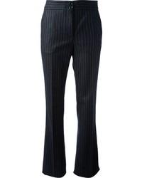 Pantalon de costume à rayures verticales bleu marine