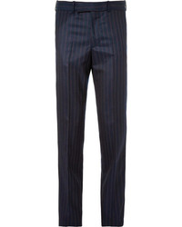 Pantalon de costume à rayures verticales bleu marine Alexander McQueen