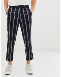 Pantalon de costume à rayures verticales bleu marine ASOS DESIGN