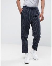 Pantalon de costume à rayures verticales bleu marine Asos