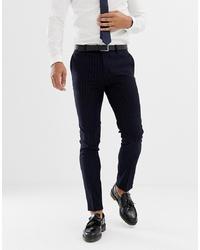 Pantalon de costume à rayures verticales bleu marine AVAIL London