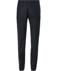 Pantalon de costume à rayures verticales bleu marine Dries Van Noten