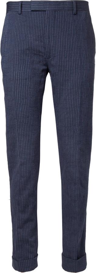 Pantalon de costume à rayures verticales bleu marine Gant