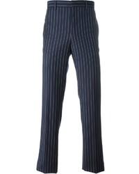 Pantalon de costume à rayures verticales bleu marine Givenchy