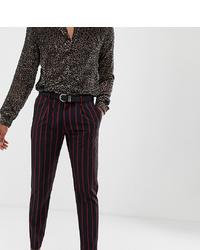 Pantalon de costume à rayures verticales bleu marine Heart & Dagger