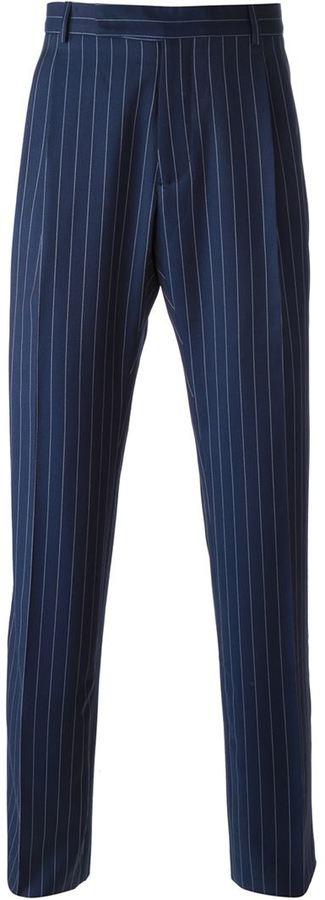 Pantalon de costume à rayures verticales bleu marine J.W.Anderson