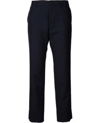Pantalon de costume à rayures verticales bleu marine Jil Sander