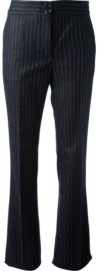Pantalon de costume à rayures verticales bleu marine Moschino