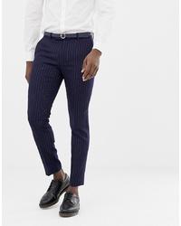 Pantalon de costume à rayures verticales bleu marine MOSS BROS