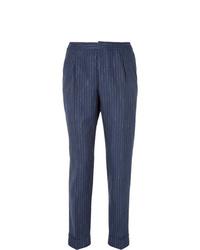 Pantalon de costume à rayures verticales bleu marine Officine Generale