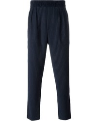 Pantalon de costume à rayures verticales bleu marine Paolo Pecora