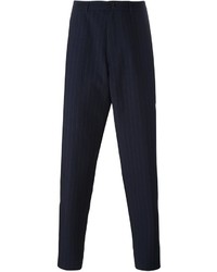 Pantalon de costume à rayures verticales bleu marine Raf Simons