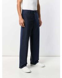 Pantalon de costume à rayures verticales bleu marine Marni