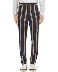 Pantalon de costume à rayures verticales bleu marine Ami