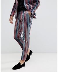Pantalon de costume à rayures verticales bleu ASOS DESIGN