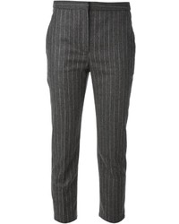 Pantalon de costume à rayures verticales gris foncé Alexander McQueen
