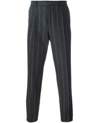 Pantalon de costume à rayures verticales gris foncé Brunello Cucinelli