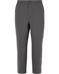 Pantalon de costume à rayures verticales gris foncé Ganni