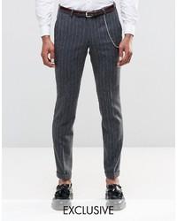 Pantalon de costume à rayures verticales gris foncé