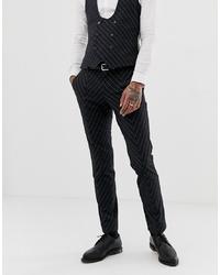 Pantalon de costume à rayures verticales gris foncé Twisted Tailor