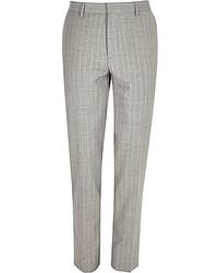 Pantalon de costume à rayures verticales gris