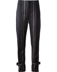 Pantalon de costume à rayures verticales noir ADAM by Adam Lippes