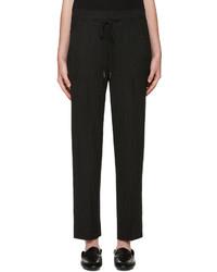 Pantalon de costume à rayures verticales noir Helmut Lang