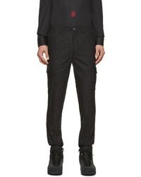Pantalon de costume à rayures verticales noir Kenzo
