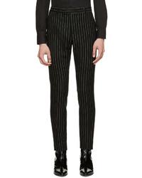 Pantalon de costume à rayures verticales noir Saint Laurent