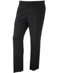 Pantalon de costume à rayures verticales noir Savile Row