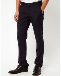 Pantalon de costume à rayures verticales noir Vito