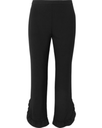 Pantalon de costume à volants noir Prada