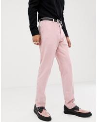 Pantalon de costume brodé rose ASOS DESIGN