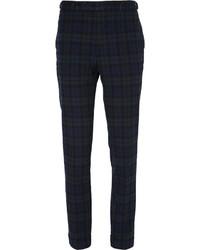Pantalon de costume écossais bleu marine et vert Beams