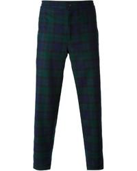 Pantalon de costume écossais bleu marine et vert Golden Goose Deluxe Brand