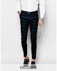 Pantalon de costume écossais bleu marine et vert