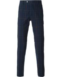 Pantalon de costume écossais bleu marine Etro