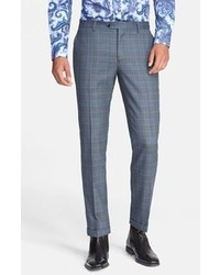Pantalon de costume écossais bleu