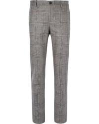 Pantalon de costume écossais gris Etro