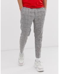 Pantalon de costume écossais gris New Look