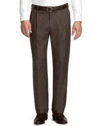 Pantalon de costume écossais marron foncé