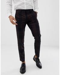 Pantalon de costume écossais marron foncé Burton Menswear
