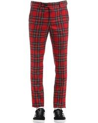 Pantalon de costume écossais rouge