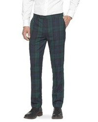 Pantalon de costume écossais vert foncé