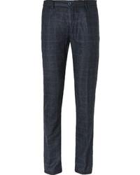Pantalon de costume en laine à carreaux bleu marine