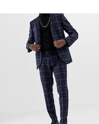 Pantalon de costume en laine à carreaux bleu marine Heart & Dagger