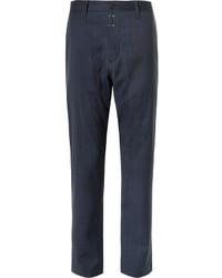 Pantalon de costume en laine à carreaux bleu marine Oamc