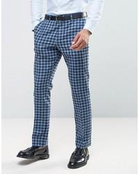 Pantalon de costume en laine à carreaux bleu Asos