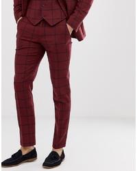 Pantalon de costume en laine à carreaux bordeaux