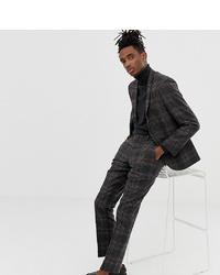 Pantalon de costume en laine à carreaux gris foncé Heart & Dagger